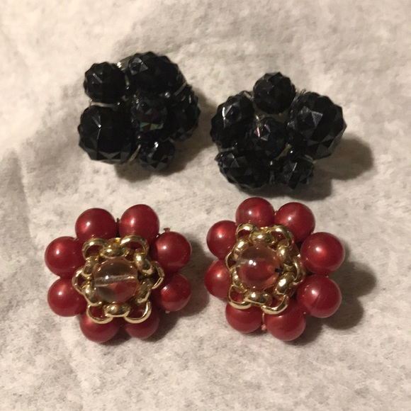 Set of Vintage Yellow Beaded Earrings and Pin Made in West Germany